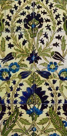 Tile panel with Persian flower pattern (ceramic) Creator Morgan, William De (1839-1917)