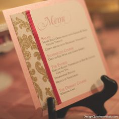 Gold Glitter Damask Wedding Menu Card by designquintessential