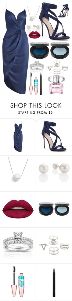 """""""Blue Silkiness"""" by pinkstars6 ❤ liked on Polyvore featuring Zimmermann, Imagine by Vince Camuto, Chan Luu, Huda Beauty, Annello, Charlotte Russe, Maybelline, MAC Cosmetics, Versace and Pumps"""