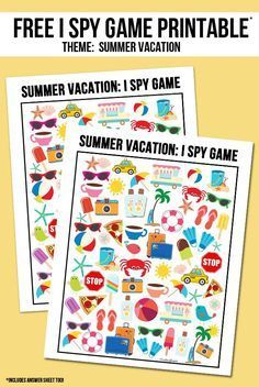Free Summer Vacation I Spy printable!  Answer key included as well -- visit with http://livelaughrowe.com