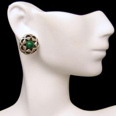 Mid Century 925 Sterling Silver Malachite Vintage Pierced Earrings Carved Star Design from #MyClassicJewelry on Etsy: http://ift.tt/1hyCtgg