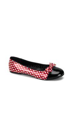 Funtasma Women's Mouse 16 - Red Patent/White Polka Dots Slip-on Shoes White Ballet Flats, White Slip On Shoes, White Flats, Ballet Shoes, Polka Dot Flats, Polka Dots, Pin Up Shoes, Bow Flats, Retro Shoes