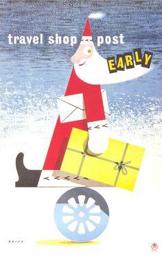 Product Capsule: 'Post Early for Christmas' posters - Retronaut Christmas Graphics, Modern Christmas, Retro Christmas, Christmas Greetings, Christmas Posters, Vintage Christmas Images, Homemade Christmas Gifts, Christmas Illustration, Poster Prints