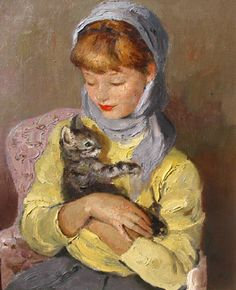 Marcel Dyf. Girl with Cat oil painting