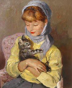 Marcel Dyf (French, 1899-1985) : Jeune Fille Avec Chaton (The Kitten).
