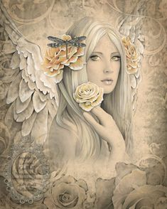 SUMMER ROSE Victorian inspired angel art 17 inch x 22 inch giclee print from original angel drawing by Jessica Galbreth. $60.00, via Etsy.