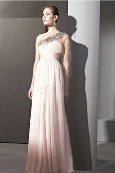 Luxury Sloping shoulder Sleeveless Chiffon Wedding Dresses - Pink