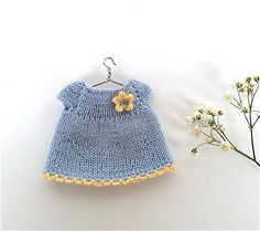 Doll clothing dress, miniature knitted blue dress for 3.5 - 4 inches doll, clothes for small doll by AnnaToys on Etsy