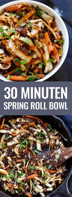 Roll Bowl - like spring rolls to spoon - cooking carousel - OMG Spring Roll Bowl! This low carb recipe is simple, packed with Asian flavors and SO good. – Ko -Spring Roll Bowl - like spring rolls to spoon - cooking carousel - OMG Spring Roll Bowl! Asian Recipes, Low Carb Recipes, Vegetarian Recipes, Healthy Recipes, Ethnic Recipes, Zoodle Recipes, Pescatarian Recipes, Coconut Recipes, Chinese Recipes