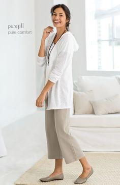 pure jill hooded slub cardi, pure jill dip-dyed tee, pure jill cropped pants & pure jill ballet flats