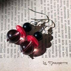 Pendant earrings with marionettes in red, black and purple color by LeCoucouDesign on Etsy