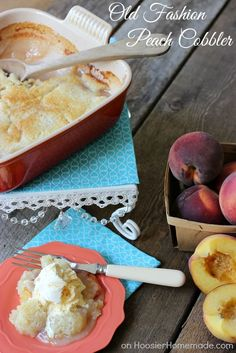 Old Fashion Peach Cobbler | Recipe on HoosierHomemade.com