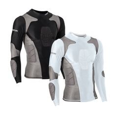 Padded Compression Shirts Adult Compression Shirt MMA Judo BJJ Jiu Jitsu Rash Guards This innovative new gear can be worn underneath uniforms or on its own. Constructed of nylon and spandex wit Tactical Clothing, Tactical Gear, Mein Style, Body Armor, Swagg, Gears, Menswear, Shirts, Costumes