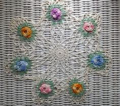 Shabby VINTAGE Chic HAND CROCHET BLUE PINK PURPLE RAISED ROSE FLORAL LACE DOILY