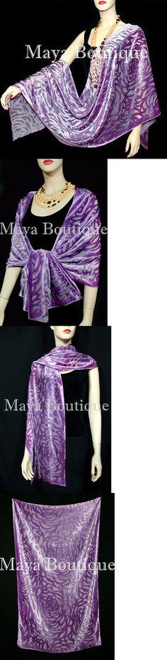Wraps and Jackets 105472: Maya Matazaro Lavender Camellia Shawl Wrap Scarf Burnout Velvet Elegant! -> BUY IT NOW ONLY: $79.99 on eBay!