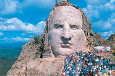 Discover Crazy Horse Memorial in Custer, South Dakota: The world's largest mountain carving could fit all of Mount Rushmore inside it many times over. Statues, Crazy Horse Memorial, Sea To Shining Sea, Wisconsin, Michigan, Native American Art, American Indians, South Dakota, Vacation Spots