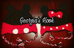 Croshet Mickey and Minnie Mouse hat .