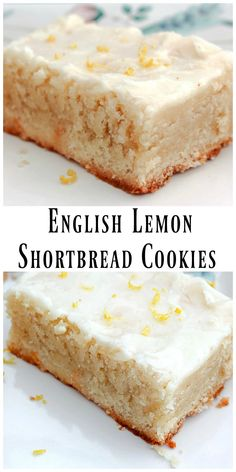English Lemon Shortbread Strips are incredibily tender, buttery and morish. THe lemon in the shortbread recipe and glaze are proportioned perfectly. English Desserts, British Desserts, English Recipes, British Recipes, Scottish Recipes, English Dishes, English Snacks, English Sweets, English Bread