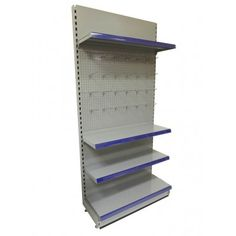 Quality metal shelving available in silver or cream finishes. Store Shelving, Metal Shelving, Wall Shelving, Shelves, Gondola Shelving, Silver Walls, Shop Fittings, Silver Metal, Retail