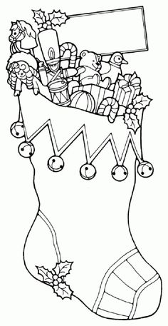 Christmas coloring and activity pages: Christmas stocking toys