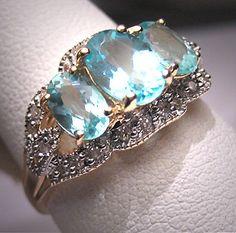 Vintage Aquamarine Apatite Diamond Wedding Ring Deco via Etsy
