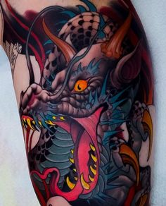 Japanese dragon tattoo by @peterlagergren.#japaneseink #japanesetattoo #irezumi #tebori #colortattoo #colorfultattoo #cooltattoo #largetattoo #dragontattoo #newschool #newschooltattoo #blackwork #blackink #blacktattoo #wavetattoo #naturetattoo   Artist: @japanese.ink