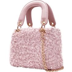 Pink Faux Fur Chain Handbag With Strap (278.180 VND) ❤ liked on Polyvore featuring bags, handbags, chain-strap handbags, handbag purse, hand bags, pink tote purse and pink handbags