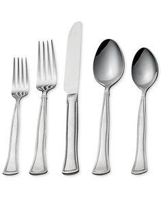 Gourmet Basics by Mikasa Chadwick Bead 20-Pc Flatware Set, Service for 4 - Flatware Sets - Kitchen - Macy's
