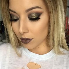 """Glam! Love this grunge-y look by @lustrelux.  #motd #inspiration #pampadour #makeup #beauty   DETAILS  """"Mac Stone lipstick and lip liner!!! Didn't plan on pairing it with a smokey eye but I really wanted to see what it looks like. I love it. @makeupgeekcosmetics Utopia on my lid"""""""