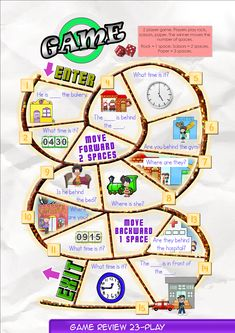 Game Board 23  Contents-Game Review booklet and theme flashcards.  Contains Everyday English, game review, grammar summary and worksheets.  Everyday English: What time is it, Bella? It's ten o'clock. Is it time for bed? Yes, I'm very sleepy.  Theme: Places Downtown movie theater, hospital, gym, coffee shop,  fire station, police station, bakery, post office.    Grammar: Prepositions 2  At, between, beside, in front of. I am at the post office.  Where is he?  Is he in front of the fire…