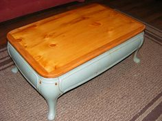 Repurposed Antique Stove Base Coffee Table with recycled pine top wrapped in local cherry wood Truly one of a kind. $275.00, via Etsy.