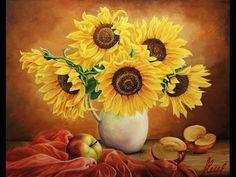 Рисуем цветы Подсолнухи натюрморт - YouTube