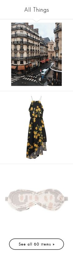 """All Things"" by faeryrain on Polyvore featuring dresses, vestidos, floral midi dress, yellow silk dress, floral print midi dress, mid calf dresses, travel dresses, costumes, grey and adult halloween costumes"