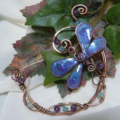 Aqua and Amethyst Wirewrapped Copper Dragonfly by kellscreations on Etsy
