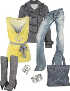 """""""Yellow and Gray"""" by sarah-jones-3 on Polyvore"""