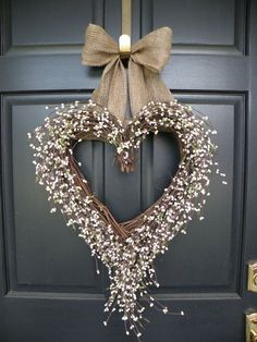 White Berry Shabby Chic Heart Wedding Wreath