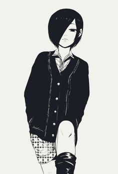 She reminds me of an anime character I created Kaneki Y Touka, Ken Kaneki Tokyo Ghoul, Tokyo Ghoul Manga, Juuzou Suzuya, Manga Anime, Manga Girl, Eren And Mikasa, Naruto, Fan Art