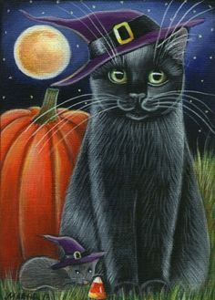 Halloween Black Cat with pumpkin and a Halloween mouse Halloween Painting, Halloween Cat, Halloween Pumpkins, Halloween Ideas, Vintage Halloween Cards, Halloween Pictures, Autumn Painting, Tole Painting, Cat Mouse