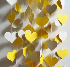 Yellow and Grey Hearts - should make tons of these to hang everywhere.