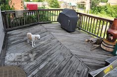 Pressure treated deck before DEFY Extreme Wood Stain in cedar tone was applied