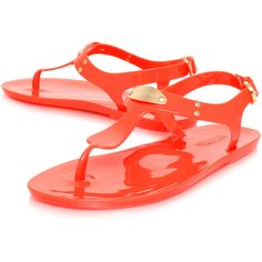 Michael Michael Kors Mk Plate Jelly Flats ($36) ❤ liked on Polyvore featuring shoes, flats, sandals, flat shoes, orange flat shoes, michael michael kors shoes, orange shoes and michael michael kors