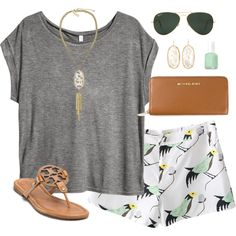 bird print by classically-preppy on Polyvore featuring H&M, Tory Burch, Michael Kors, Kendra Scott, Ray-Ban and Essie