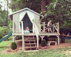 Clubhouse with zip line (Elizabeth's) Outdoor playhouse, Outdoor play areas Backyard Fort, Backyard Playset, Backyard Playground, Backyard For Kids, Zip Line Backyard, Backyard Games, Kids Outdoor Play, Outdoor Play Spaces, Outdoor Fun