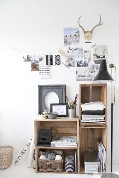 stackable storage.. old wood crates ~@Lauren Davison Davison Farkas Interior Design Inspiration Board~