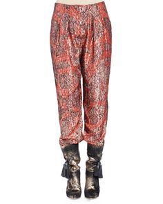 Metallic-Print Pajama Pants, Fire Red, Size: 46 FR (14 US) - Lanvin