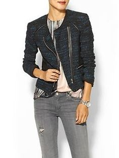 Rebecca Taylor Boucle & Leather Blazer | @Pack It Up & receive an email alert when it goes on sale in your size!