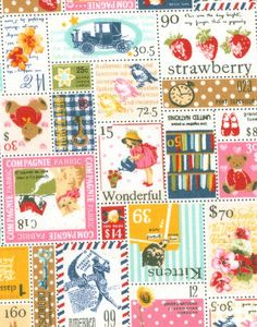 vintage stamp fabric