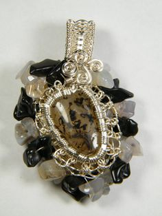 Agate focal with Rainbow Obsidian and Agate by NoStoneLeftUnturned