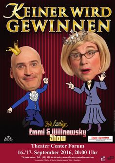 """Das grenzgeniale Comedy-Duo Emmi & Herr Willnowsky ENDLICH auch in WIEN.  """"Keiner wird gewinnen"""" - passender könnte der Titel zu Szenen einer Ehe nicht gewählt sein.   Wer die Wahrheit verträgt wird lachen bis die Tränen fließen und der Bauch(muskel) schmerzt.  Schon oder noch verheiratet, Single, geschieden, frisch verliebt ... jeder wird sein Stückchen Wahrheit wiederfinden. Kommen Sie, es gibt nichts zu verlieren, aber auch nichts zu gewinnen! Kabarett mit Kultfaktor!"""