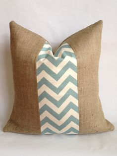 Village Blue and Cream Chevron and Burlap Pillow by BouteilleChic, $18.00